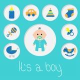 Zijn een jongen De douchekaart van de babyjongen met fles, paard, rammelaar, fopspeen, sok, autostuk speelgoed, kinderwagen, pira Royalty-vrije Stock Afbeelding