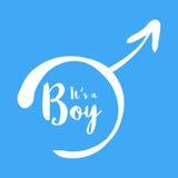Zijn een jongen - de uitnodigingsmalplaatje van de babydouche Kalligrafische tekst in het hand-drawn mannelijke geslachtsteken Ge Stock Afbeeldingen