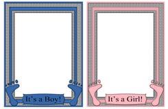 Zijn een Jongen Zijn Voeten van een van het Meisje van de Frames Baby Royalty-vrije Stock Fotografie