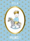 Zijn een jongenskaart Klein prins berijdend hobbelpaard Royalty-vrije Stock Foto