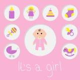 Zijn een meisje De douchekaart van het babymeisje Fles, paard, rammelaar, fopspeen, sok, pop, het stuk speelgoed van de kinderwag Stock Afbeelding