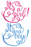 Zijn een meisje, jongen het van letters voorzien De vectoruitnodiging van de babydouche Stock Fotografie