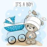 Zijn groetkaart een jongen met kinderwagen en Teddy royalty-vrije illustratie