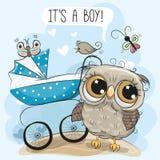 Zijn groetkaart een jongen met kinderwagen en Uil stock illustratie