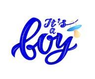 Zijn LInscription van uitdrukking een jongen met uitsteeksel soother Blauwe kleur Volumeeffect stock illustratie