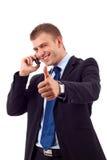 Zijnd Positief op telefoon royalty-vrije stock foto