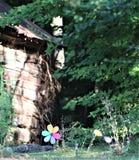 Zijschuur met bloemen Stock Foto's