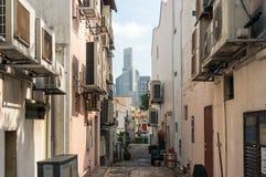 Zijstraat van het historische district van Tanjong Pagar in Singapore Stock Fotografie