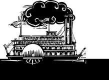 Zijwiel Riverboat in donkere rivier Royalty-vrije Stock Afbeeldingen
