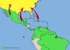 zika病毒被传染的国家地图  免版税库存照片