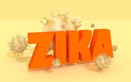Zika desease, abstract virus modes. Abstract virus image on backdrop and zika text. Zika virus danger relative illustration. Medical research theme. Virus Stock Photo