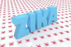Zika deseasetext på myggamodellbakgrunden Arkivbilder