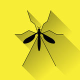 Zika mosquito icon. For web, flat design on yellow background Royalty Free Stock Images