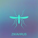 Zika myggavektor Virusvarning Aedes Aegypti på blå bakgrund Arkivbild