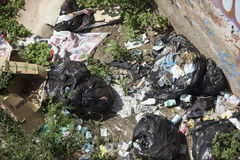 Zika: In Rio, trash in railroads favors mosquitoes proliferation royalty free stock image