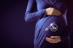 Zika vaccination. Health-care and pregnancy care concept. Pregnant woman with protective gesture and symbol of the vaccine in hypodermic needle vector illustration