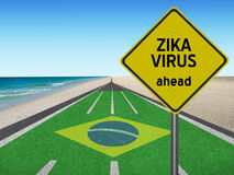 Zika Virus ahead sign on road to Brazil Royalty Free Stock Photography