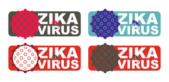 Zika Virus with Alert Label Royalty Free Stock Images
