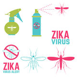 Zika virus alert. Set of design elements Royalty Free Stock Photo