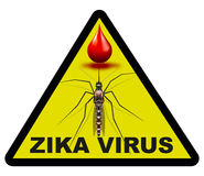 Zika virus alert signal. Warning sign with a mosquito moving toward a drop of blood and the word zika virus / zika virus alert signal Royalty Free Stock Image