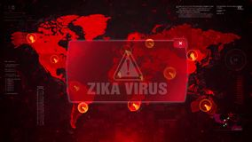 Zika Virus Alert Warning Attack on Screen World Map Loop Motion. Zika Virus Alert Warning Message Attack on World map. Wire frame Radar Network Seamless loop royalty free illustration