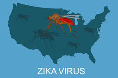 Zika virus concept, USA map, vector illustration Royalty Free Stock Images
