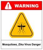 Zika virus Danger, Mosquitoes symbol, vector sticker Stock Photo