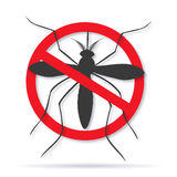 Zika virus graphic design elements. Zika alert banner, poster, flyer with aegypti aedes mosquito silhouette. Forbidden, no mosquito sign. High quality graphic Royalty Free Stock Photos