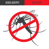 Zika virus graphic design elements. Zika alert banner, poster, flyer with aegypti aedes mosquito silhouette. Forbidden, no mosquito sign. High quality graphic Stock Photo