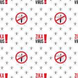 Zika virus graphic design elements. Seamless pattern with aedes mosquitos. Texture of insects.  Healthcare concept. Pattern warning about dangerous Zika virus Stock Photo