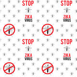 Zika virus graphic design elements. Seamless pattern with aedes mosquitos. Texture of insects.  Healthcare concept. Pattern warning about dangerous Zika virus Royalty Free Stock Images
