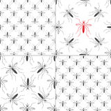 Zika virus graphic design elements. Set of four seamless patterns with aedes mosquitos. Texture of insects.  Healthcare concept. Pattern warning about dangerous Royalty Free Stock Photos