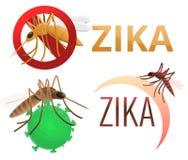 Zika virus icons set, cartoon style vector illustration