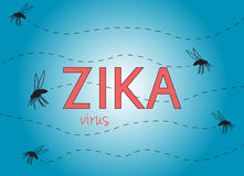 Zika virus. Illustration with text and flying mosquitoes on blue background Royalty Free Stock Image