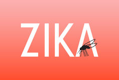 Zika virus. Illustration of text Zika with mosquito Stock Images