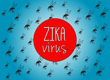 Zika virus. Illustration with text and mosquito background Stock Images
