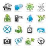 Zika Virus pandemic icons Royalty Free Stock Images