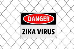 Zika Virus Sign with Wired Fence. 3d Rendering Royalty Free Stock Photos