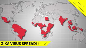 Zika virus spreads world map illustration. Zika virus spreading vector illustration