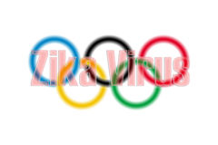 Zika-Virus vor olympischem Logo der Unschärfe Stockbilder