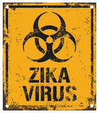 Zika virus warning. Damaged zika virus warning board Stock Photo