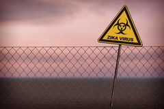 Zika Virus Warning Sign. 3d Rendering. Zika Virus Warning Sign on a sky background. 3d Rendering Royalty Free Stock Images