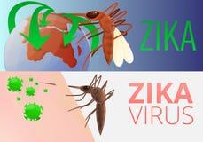 Zika-Virusinfektions-Fahnensatz, Karikaturart lizenzfreie abbildung