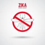 Zika virusvarning Moskit med uttryck Arkivbild