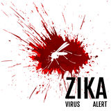 Zika virusvarning Mygga med uttryck Arkivfoto