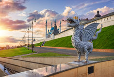 Zilant. In front of Kazan Kremlin in the rays of the setting sun Royalty Free Stock Photos