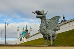 Zilant is the symbol of Kazan near the Kul Sharif Mosque. And the Kazan Kremlin. Kazan, Tatarstan, November 2018 stock images