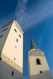 Zilina,斯洛伐克共和国,三位一体的教会两个塔 免版税图库摄影