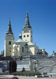 Zilina. Square and church, Zilina, Slovakia stock photography