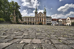 Zilina city main square. Scenic view buildings on Main city square with flagstones in foreground, Zilina, Slovakia stock photos